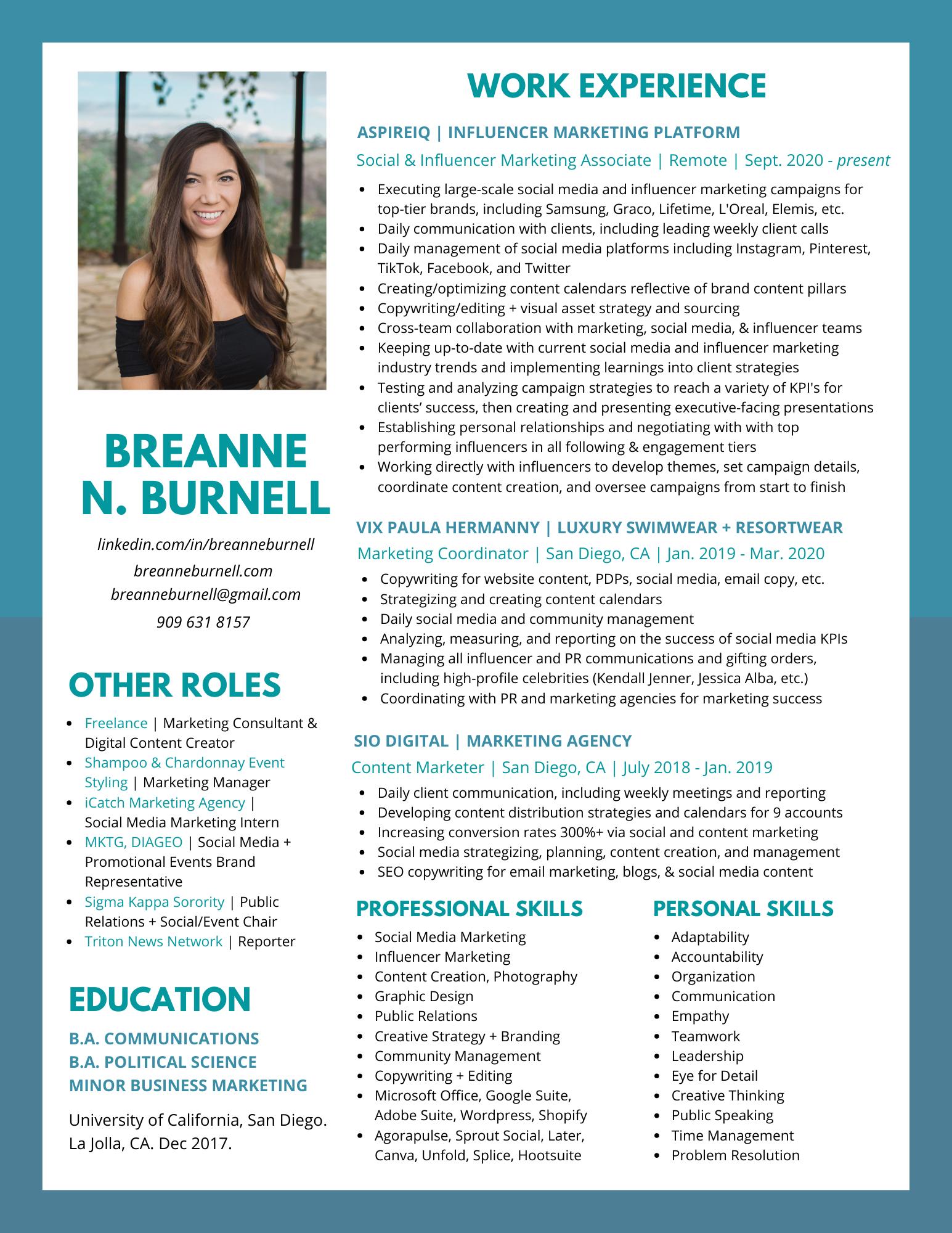 Breanne Burnell Resume 2021